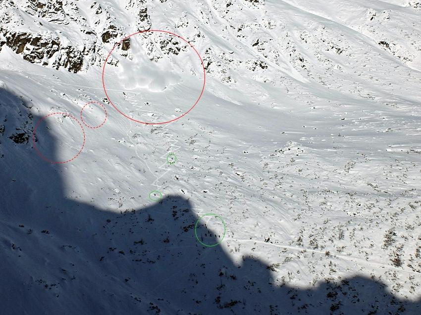 W sobotę będąc w ścianie Turni Zwornikowej udało mi się zaobserwować zejście lawiny pyłowej w linii podejścia na Szpiglasową Przełęcz. Dla przypomnienia: opad śniegu trwał przez większość dnia poprzedniego i całą noc, do godzin porannych w sobotę, przy umiarkowanym wietrze. W sobotę rano TOPR zmienił stopień zagrożenia lawinowego na 3-ci, co doskonale wpisywało się w 20-30 cm opad z poprzedniej doby. Poza tym, świeża pokrywa była słabo związana oraz w wielu miejscach dodatkowo nawiana. W zasadzie z większości ścian w rejonie Morskiego Oka schodziły pyłówki, które powiększały miąższość śniegu u podstawy ścian. W Żlebie Mnichowym w nocy z piątku na sobotę zjechała samorzutnie średnich rozmiarów lawina, której jęzor sięgnął nieomal dolnych partii żlebu. Ponieważ w sobotę od godziny 9-10 zrobiło się słonecznie sporo osób wybrało się w rejon Progu Mnichowego (wspinano się na kilku drogach) oraz głównie na nartach ku Szpiglasowej Przełęczy. Na zdjęciu widać linię podejścia, czerwonym kółkiem zaznaczyłem zasięg lawiny, czerwone kółka przerywana linia - większe depozyty, które mogły się oberwać, zielone kółka - ludzie.